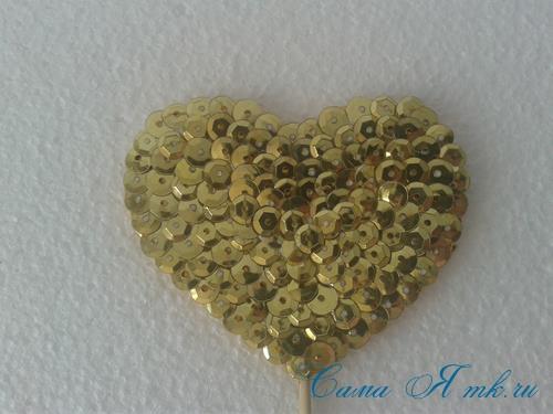 сердечки с пайетками в декоре своими руками шаблон сердца 12
