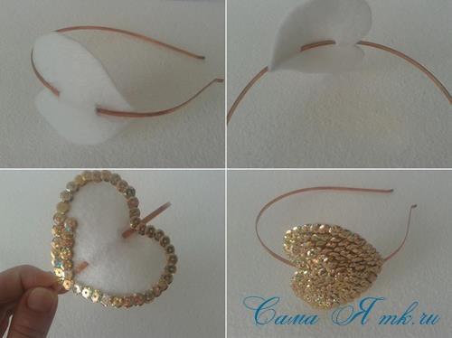сердечки с пайетками в декоре своими руками шаблон сердца 13