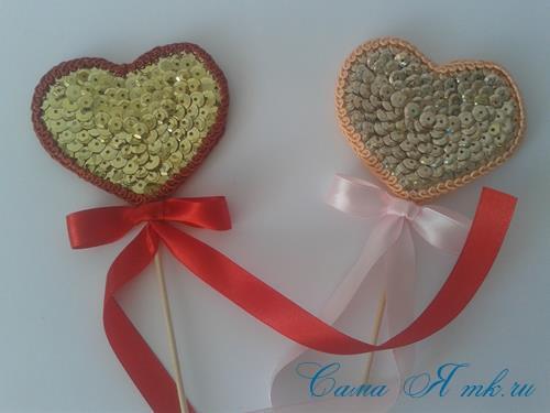 сердечки с пайетками в декоре своими руками шаблон сердца 22