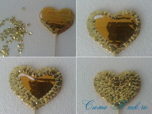 сердечки с пайетками в декоре своими руками шаблон сердца 9