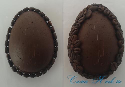 Кофейные магниты яички из зерен кофе на холодильник к Пасхе в форме яйца своими руками  13