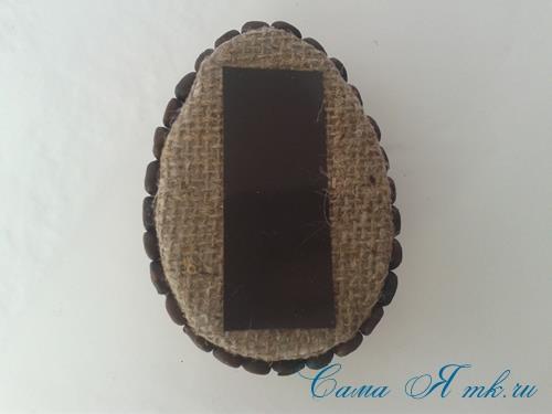 Кофейные магниты яички из зерен кофе на холодильник к Пасхе в форме яйца своими руками  17