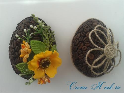 Кофейные магниты яички из зерен кофе на холодильник к Пасхе в форме яйца своими руками  21
