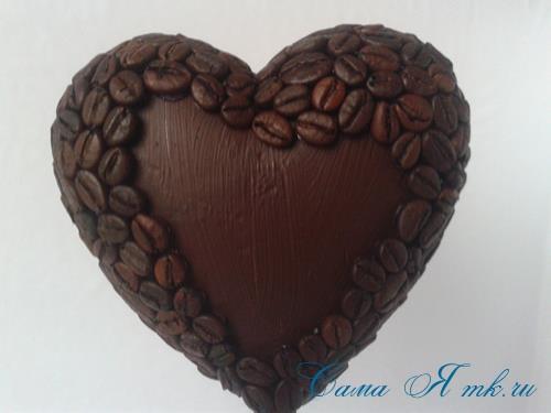 Топиарий из кофейных зёрен в форме сердца своими руками кофейное сердце из кофе 11