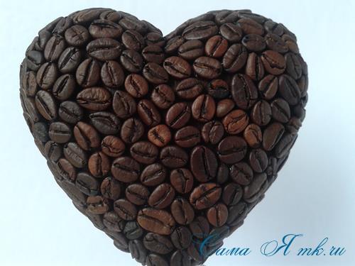 Топиарий из кофейных зёрен в форме сердца своими руками кофейное сердце из кофе 12