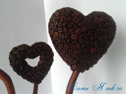 Топиарий из кофейных зёрен в форме сердца своими руками кофейное сердце из кофе 13