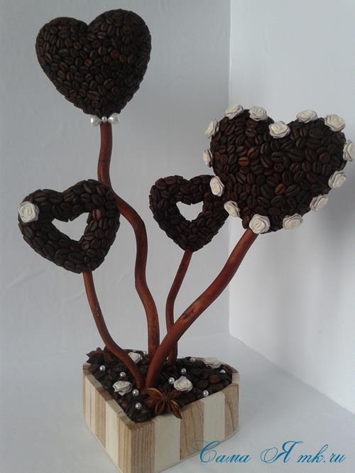 Топиарий из кофейных зёрен в форме сердца своими руками кофейное сердце из кофе 14