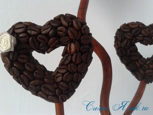 Топиарий из кофейных зёрен в форме сердца своими руками кофейное сердце из кофе 18