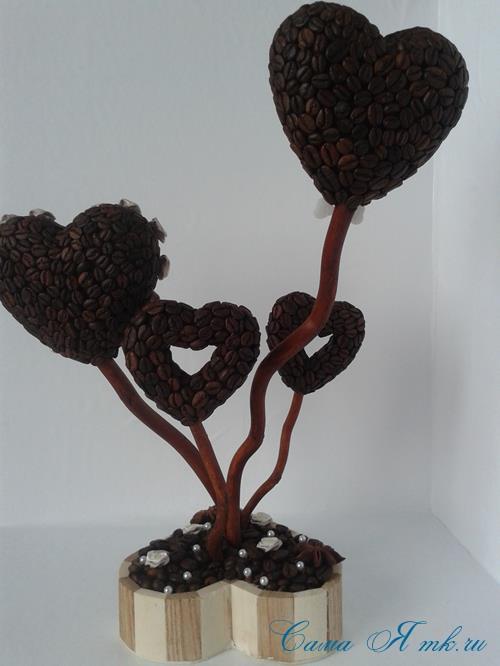 Топиарий из кофейных зёрен в форме сердца своими руками кофейное сердце из кофе 19