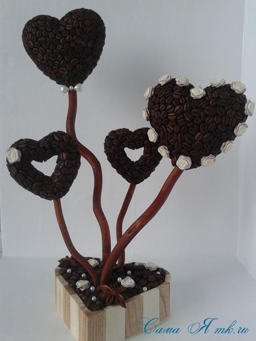 Топиарий из кофейных зёрен в форме сердца своими руками кофейное сердце из кофе 20