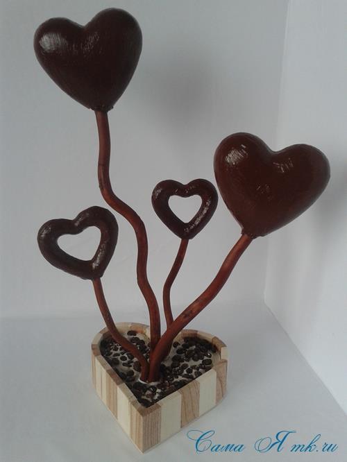 Топиарий из кофейных зёрен в форме сердца своими руками кофейное сердце из кофе 6