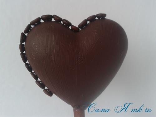 Топиарий из кофейных зёрен в форме сердца своими руками кофейное сердце из кофе 8