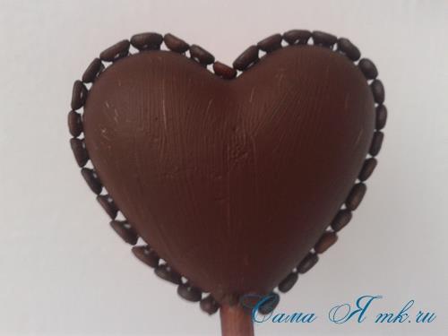 Топиарий из кофейных зёрен в форме сердца своими руками кофейное сердце из кофе 9