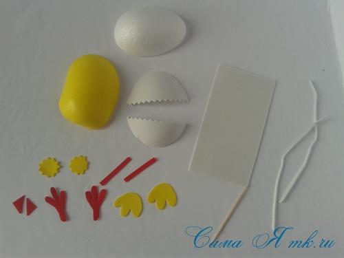 Пасхальная поделка из фоамирана  цыпленок  в скорлупке магнит на холодильник своими руками 13