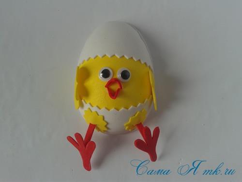 Пасхальная поделка из фоамирана  цыпленок  в скорлупке магнит на холодильник своими руками 28