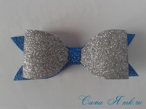 бантик галстук баьлчка из глиттерного фоаирана своими руками заколка для волос бант 1