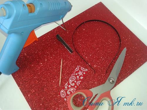 бантик из глиттерного блестящего фома фоамирана пластичной замши своими руками украшение для волос 1