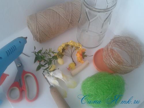 лето в банке птичка с гнездом в баночке с сизалем своими руками 1 (Copy)