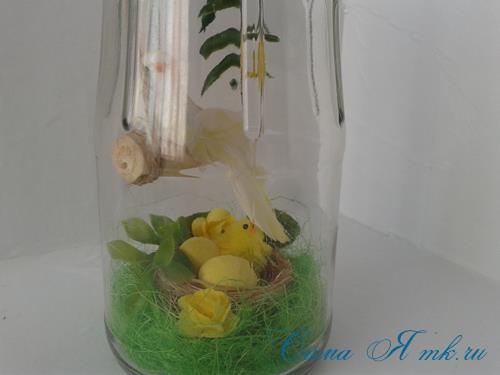 лето в банке птичка с гнездом в баночке с сизалем своими руками 11 (Copy)
