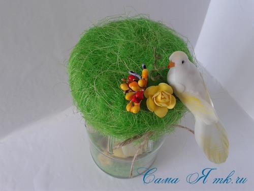 лето в банке птичка с гнездом в баночке с сизалем своими руками 17 (Copy)