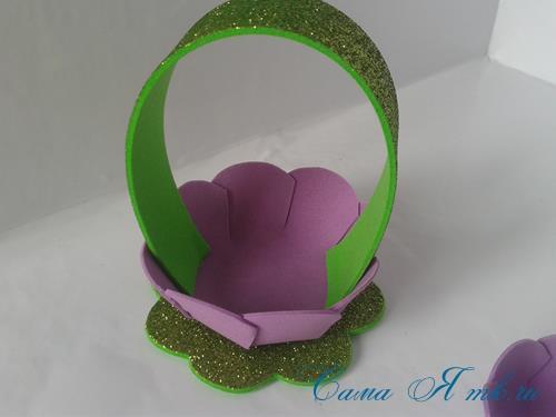 пасхальная корзинка из фоамирана фома поделки и сувениры своими руками 13