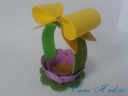 пасхальная корзинка из фоамирана фома поделки и сувениры своими руками 21