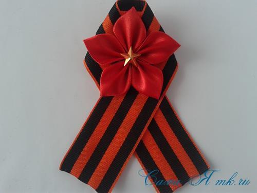 Праздничная брошь канзаши к 9 мая Украшение георгиевской ленты ко Дню Победы своими руками 11